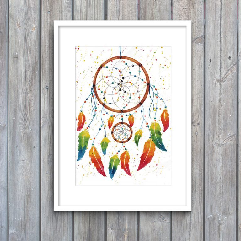 Watercolour Dreamcatchers, Originals and prints