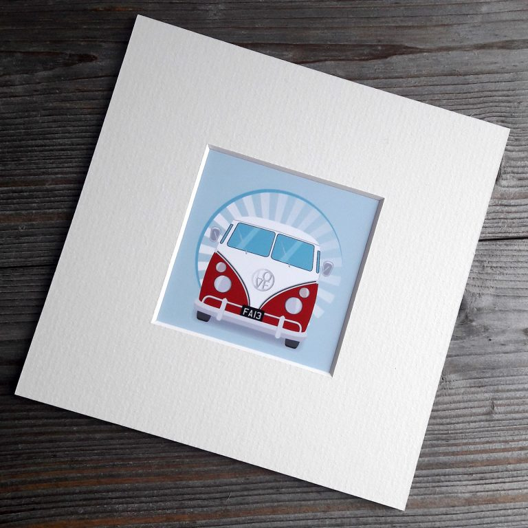 Small Mounted Camper Van Prints