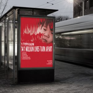 Charity poster design, by Deborah Dey, displayed on a bus shelter