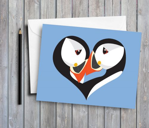 puffin greeting card by deborah dey