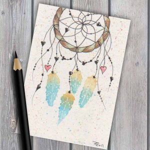 Dreamcatcher #7 original watercolour ACEO