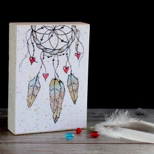 Dreamcatcher #2 print wood block