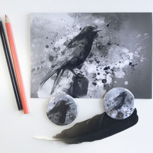 Crow Greeting Card and a Fridge Magnet