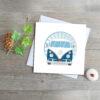 retro blue capmervan greeting card by Deborah Dey
