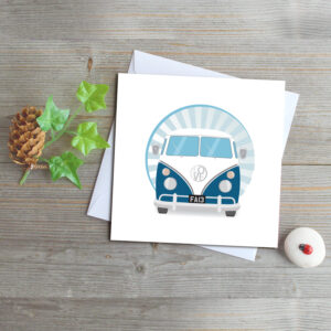 Blue Retro Campervan Greeting Card