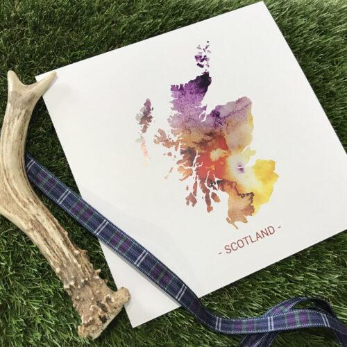 scotland watercolour map card designed in Scotland by Deborah Dey
