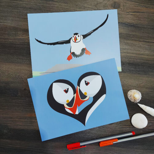 puffin love and happy landings greeting cards