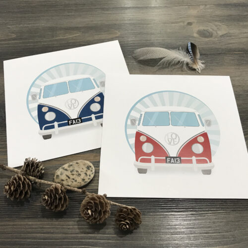 retro campervan greeting cards