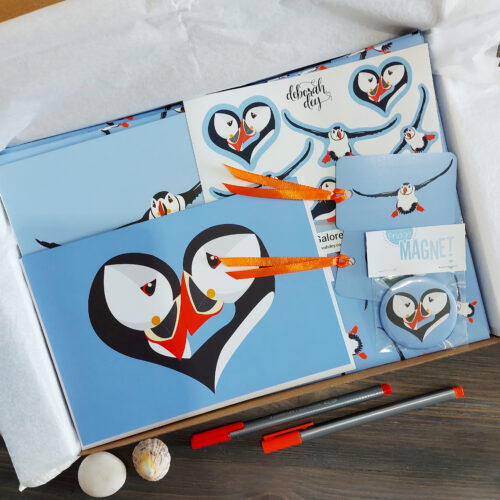 puffin love gift box, gift wrap, tags, greeting cards, stickers & fridge magnet