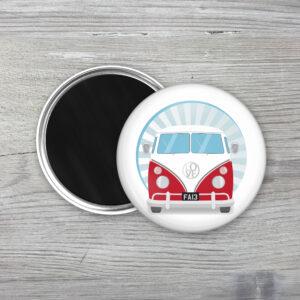Red Retro Camper Van Fridge Magnet