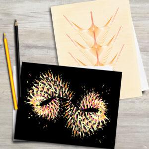 2 x Geometric Design Greeting Cards