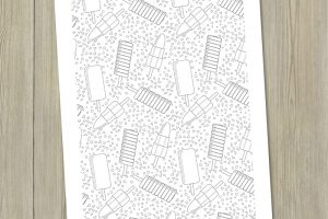 free ice lollies colouring page